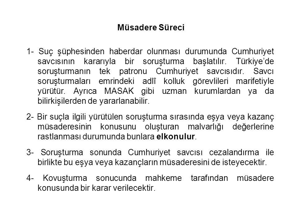 Müsadere Süreci 1- Suç şüphesinden haberdar olunması durumunda Cumhuriyet savcısının kararıyla bir soruşturma başlatılır. Türkiye'de soruşturmanın tek