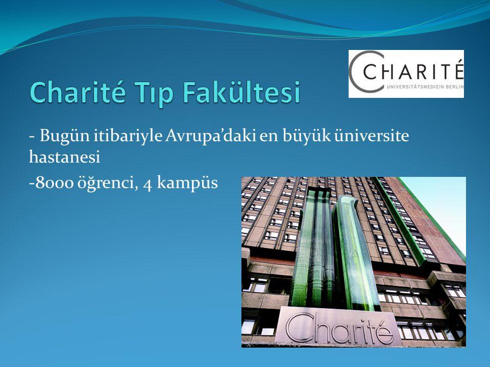 - Bugün itibariyle Avrupa'daki en büyük üniversite hastanesi -8000 öğrenci, 4 kampüs