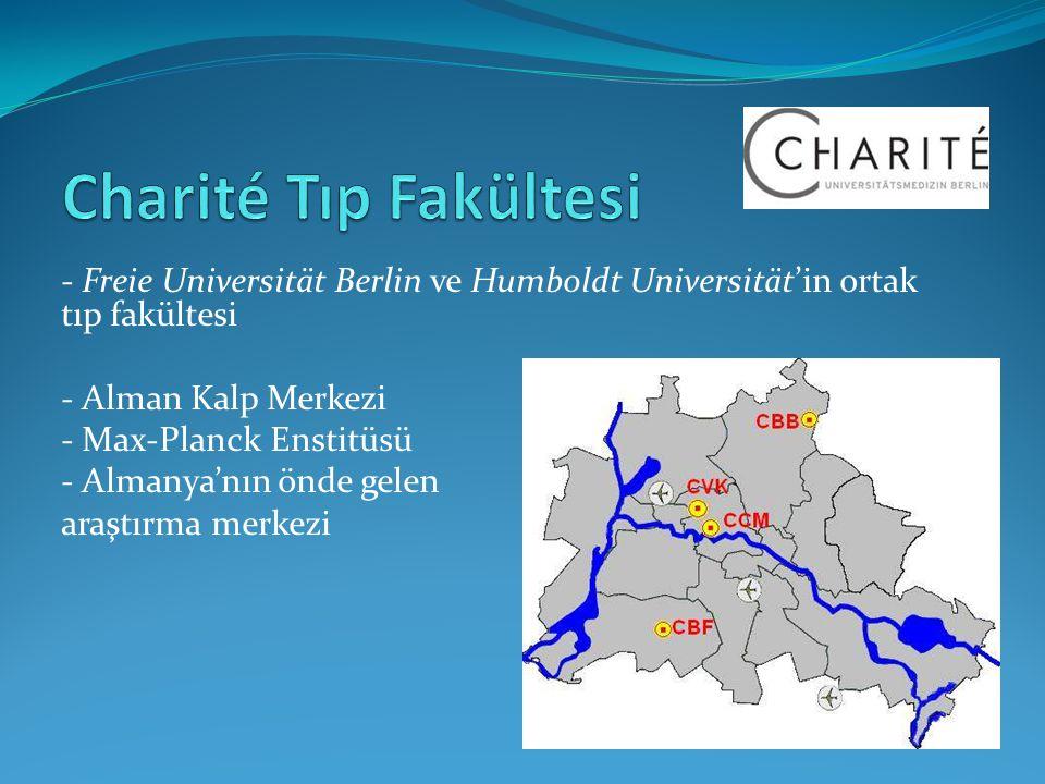 - Freie Universität Berlin ve Humboldt Universität'in ortak tıp fakültesi - Alman Kalp Merkezi - Max-Planck Enstitüsü - Almanya'nın önde gelen araştır