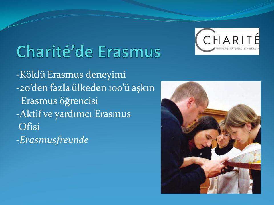 -Köklü Erasmus deneyimi -20'den fazla ülkeden 100'ü aşkın Erasmus öğrencisi -Aktif ve yardımcı Erasmus Ofisi -Erasmusfreunde