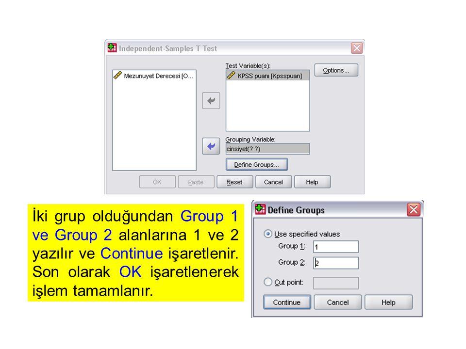 İki grup olduğundan Group 1 ve Group 2 alanlarına 1 ve 2 yazılır ve Continue işaretlenir. Son olarak OK işaretlenerek işlem tamamlanır.