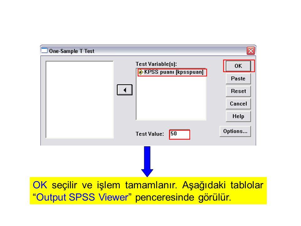 """OK seçilir ve işlem tamamlanır. Aşağıdaki tablolar """"Output SPSS Viewer"""" penceresinde görülür."""