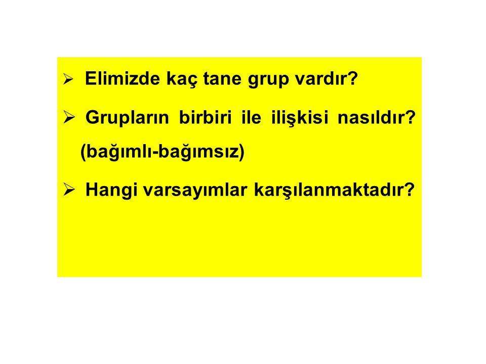  Elimizde kaç tane grup vardır?  Grupların birbiri ile ilişkisi nasıldır? (bağımlı-bağımsız)  Hangi varsayımlar karşılanmaktadır?