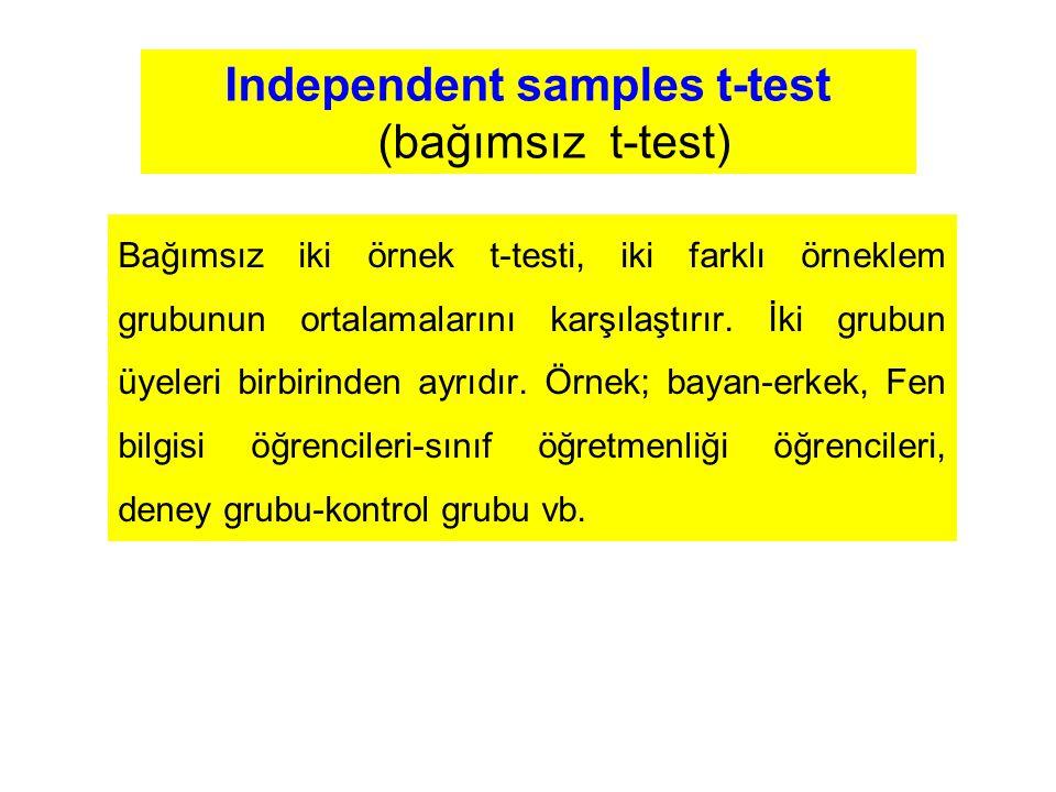 Independent samples t-test (bağımsız t-test) Bağımsız iki örnek t-testi, iki farklı örneklem grubunun ortalamalarını karşılaştırır. İki grubun üyeleri