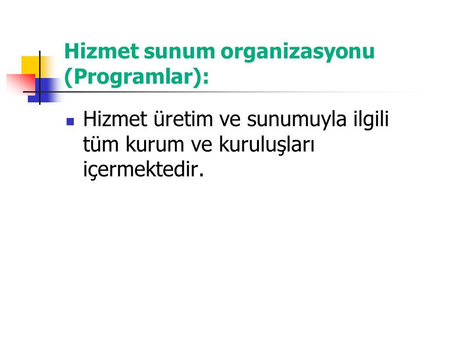 Hizmet sunum organizasyonu (Programlar): Hizmet üretim ve sunumuyla ilgili tüm kurum ve kuruluşları içermektedir.