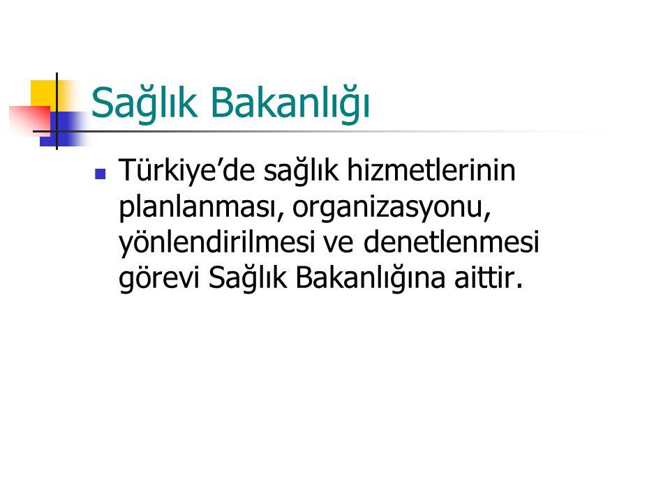 Sağlık Bakanlığı Türkiye'de sağlık hizmetlerinin planlanması, organizasyonu, yönlendirilmesi ve denetlenmesi görevi Sağlık Bakanlığına aittir.