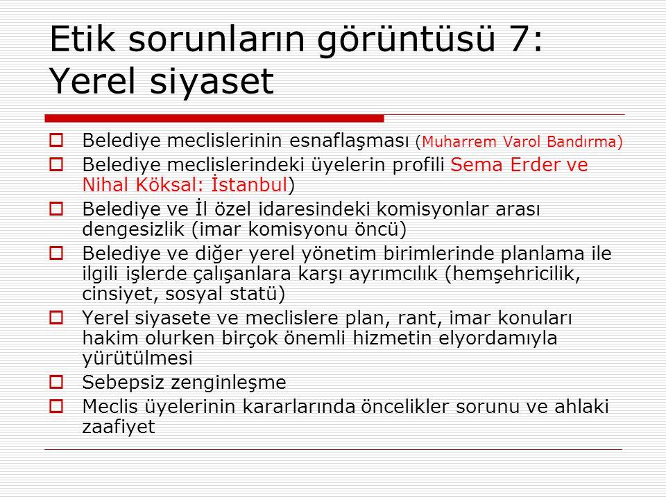 Etik sorunların görüntüsü 7: Yerel siyaset  Belediye meclislerinin esnaflaşması (Muharrem Varol Bandırma)  Belediye meclislerindeki üyelerin profili