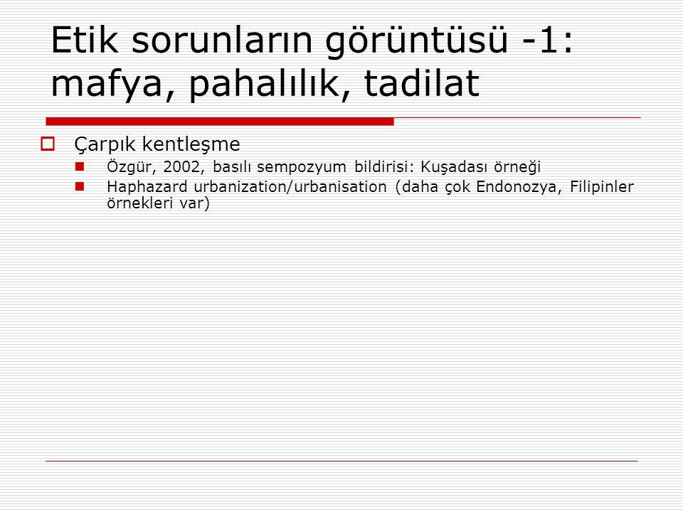Etik sorunların görüntüsü -1: mafya, pahalılık, tadilat  Çarpık kentleşme Özgür, 2002, basılı sempozyum bildirisi: Kuşadası örneği Haphazard urbaniza