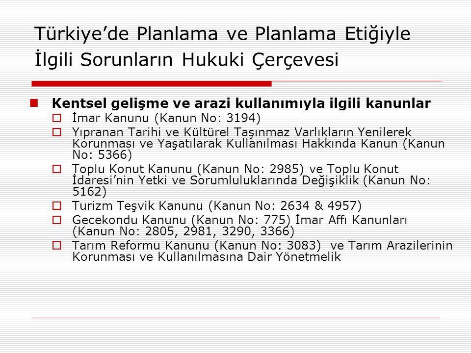 Türkiye'de Planlama ve Planlama Etiğiyle İlgili Sorunların Hukuki Çerçevesi Kentsel gelişme ve arazi kullanımıyla ilgili kanunlar  İmar Kanunu (Kanun