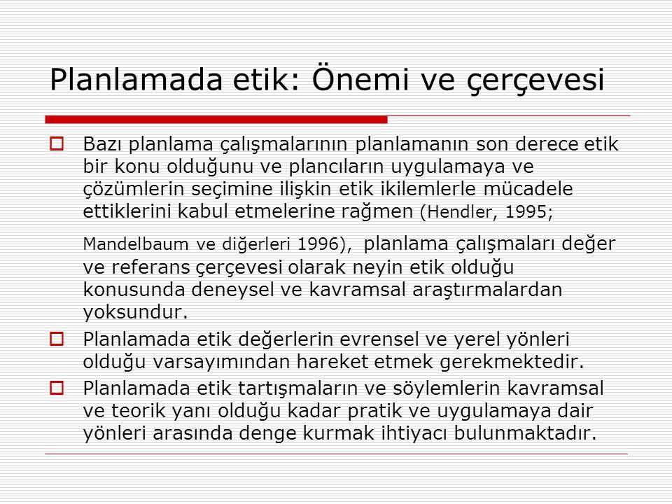 Türkiye'de Planlama ve Planlama Etiğiyle İlgili Sorunların Hukuki Çerçevesi Kentsel gelişme ve arazi kullanımıyla ilgili kanunlar  İmar Kanunu (Kanun No: 3194)  Yıpranan Tarihi ve Kültürel Taşınmaz Varlıkların Yenilerek Korunması ve Yaşatılarak Kullanılması Hakkında Kanun (Kanun No: 5366)  Toplu Konut Kanunu (Kanun No: 2985) ve Toplu Konut İdaresi'nin Yetki ve Sorumluluklarında Değişiklik (Kanun No: 5162)  Turizm Teşvik Kanunu (Kanun No: 2634 & 4957)  Gecekondu Kanunu (Kanun No: 775) İmar Affı Kanunları (Kanun No: 2805, 2981, 3290, 3366)  Tarım Reformu Kanunu (Kanun No: 3083) ve Tarım Arazilerinin Korunması ve Kullanılmasına Dair Yönetmelik