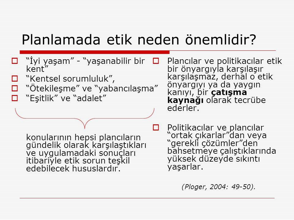 Türkçe literatürde planlama ve imar etiği temel sorunlar  Kentsel rant çarpık kentleşmeye yol açar.