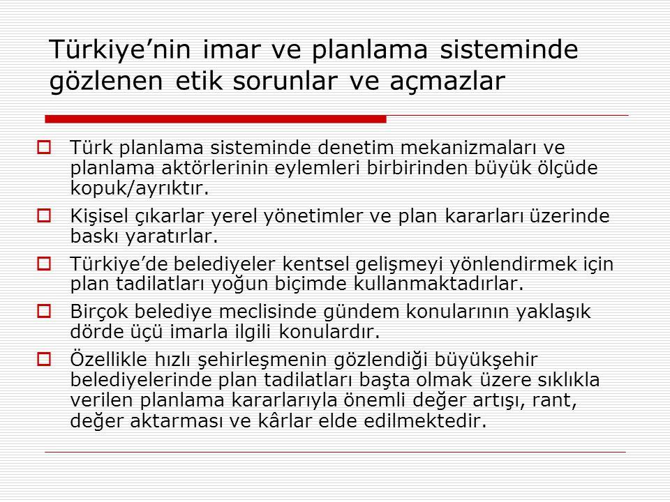 Türkiye'nin imar ve planlama sisteminde gözlenen etik sorunlar ve açmazlar  Türk planlama sisteminde denetim mekanizmaları ve planlama aktörlerinin e