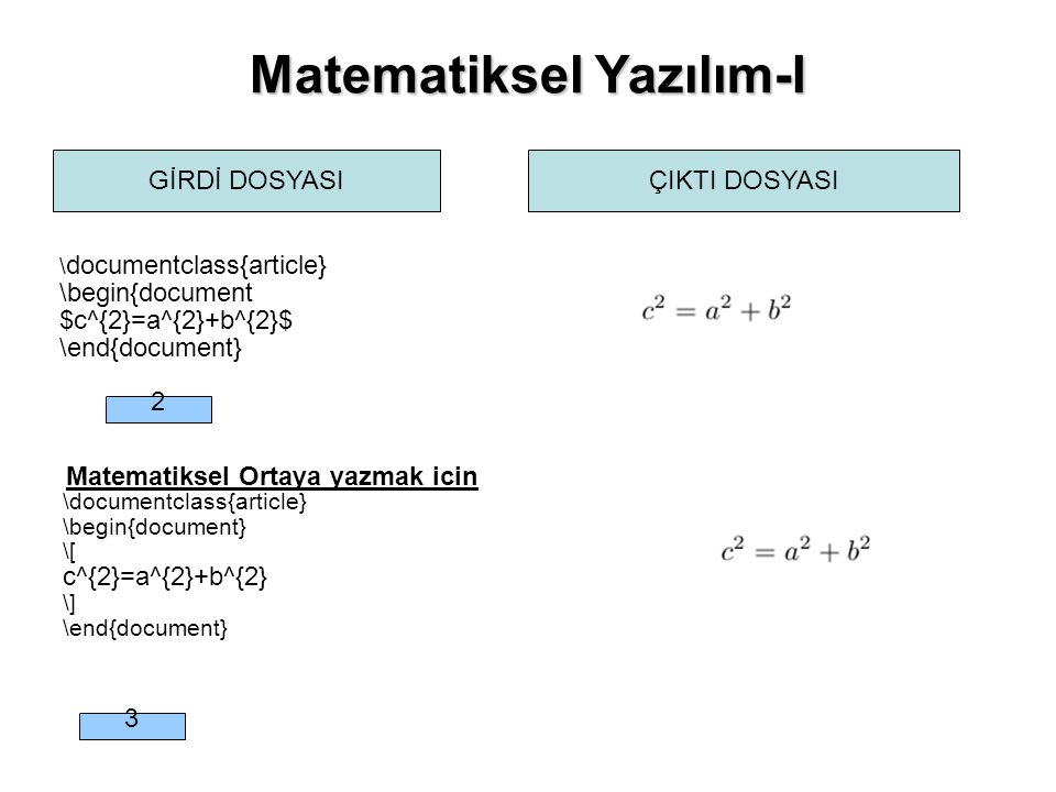 Matematiksel Yazılım-I GİRDİ DOSYASIÇIKTI DOSYASI \ documentclass{article} \begin{document $c^{2}=a^{2}+b^{2}$ \end{document} Matematiksel Ortaya yazm