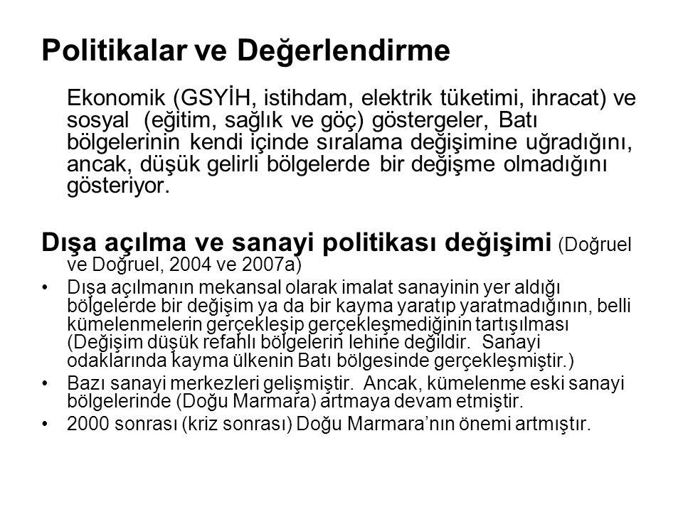Politikalar ve Değerlendirme Ekonomik (GSYİH, istihdam, elektrik tüketimi, ihracat) ve sosyal (eğitim, sağlık ve göç) göstergeler, Batı bölgelerinin k