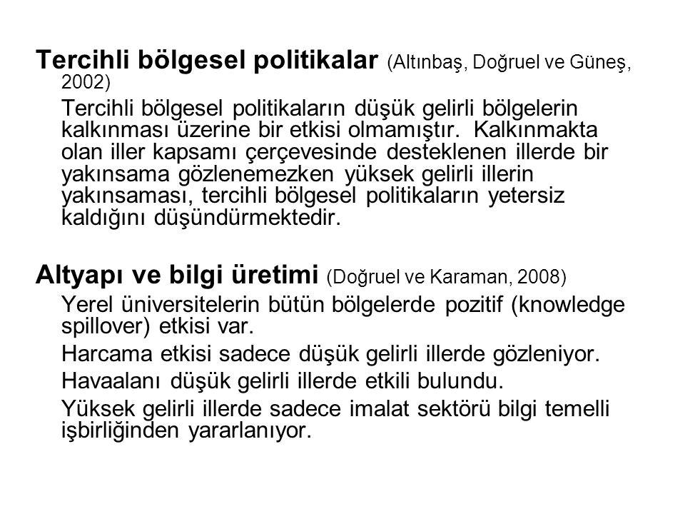 Tercihli bölgesel politikalar (Altınbaş, Doğruel ve Güneş, 2002) Tercihli bölgesel politikaların düşük gelirli bölgelerin kalkınması üzerine bir etkis