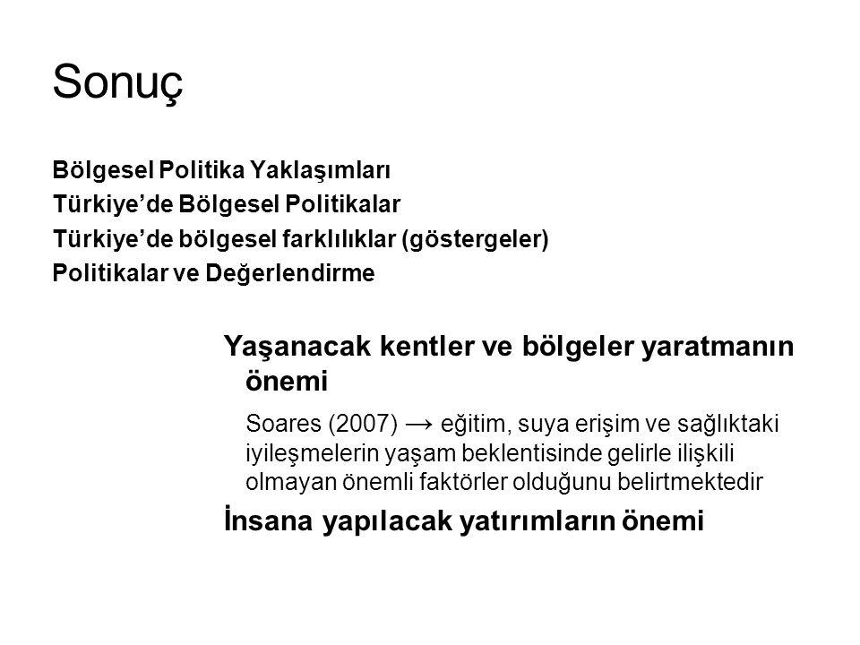 Sonuç Bölgesel Politika Yaklaşımları Türkiye'de Bölgesel Politikalar Türkiye'de bölgesel farklılıklar (göstergeler) Politikalar ve Değerlendirme Yaşan
