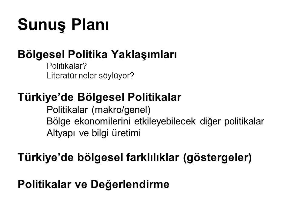 Sunuş Planı Bölgesel Politika Yaklaşımları Politikalar? Literatür neler söylüyor? Türkiye'de Bölgesel Politikalar Politikalar (makro/genel) Bölge ekon