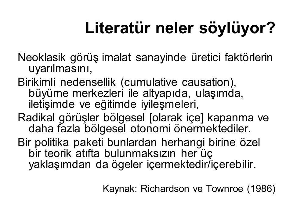 Türkiye'de bölgesel politikalar Politikalar (makro/genel) ticaretin serbestleştirilmesi ve finansal serbestleşme (dışa açılma); sanayileşmede ithal ikameci yaklaşımdan dışa açık bir yapıya geçiş sanayide devletin rolünün kaldırılması süreci (özelleştirmeler) Bölge ekonomilerini etkileyebilecek diğer politikalar tarım kesimine yönelik destekleme politikaları ve bölgesel düzeyde uygulanan tercihli politikalar Altyapı ve bilgi üretimi
