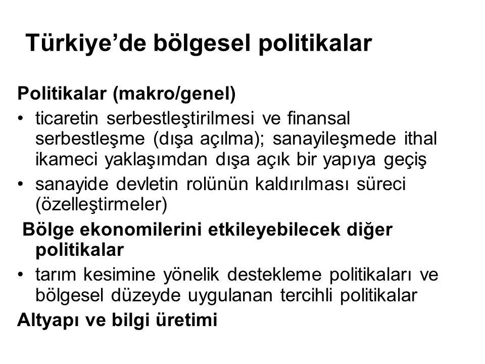 Türkiye'de bölgesel politikalar Politikalar (makro/genel) ticaretin serbestleştirilmesi ve finansal serbestleşme (dışa açılma); sanayileşmede ithal ik