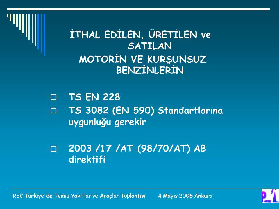 İTHAL EDİLEN, ÜRETİLEN ve SATILAN MOTORİN VE KURŞUNSUZ BENZİNLERİN  TS EN 228  TS 3082 (EN 590) Standartlarına uygunluğu gerekir  2003 /17 /AT (98/70/AT) AB direktifi REC Türkiye' de Temiz Yakıtlar ve Araçlar Toplantısı 4 Mayıs 2006 Ankara