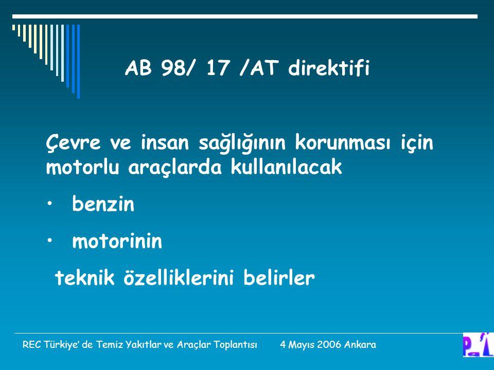 AB 98/ 17 /AT direktifi Çevre ve insan sağlığının korunması için motorlu araçlarda kullanılacak benzin motorinin teknik özelliklerini belirler REC Türkiye' de Temiz Yakıtlar ve Araçlar Toplantısı 4 Mayıs 2006 Ankara