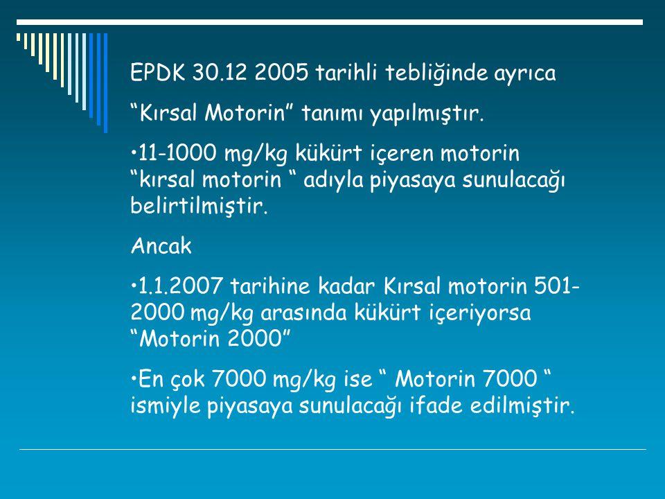 """EPDK 30.12 2005 tarihli tebliğinde ayrıca """"Kırsal Motorin"""" tanımı yapılmıştır. 11-1000 mg/kg kükürt içeren motorin """"kırsal motorin """" adıyla piyasaya s"""