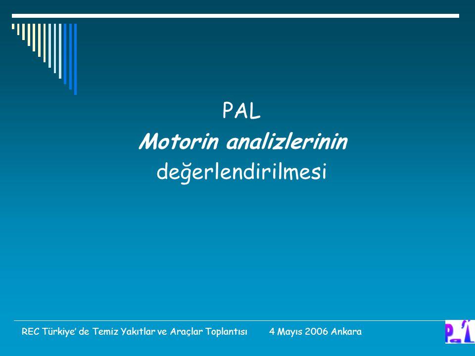 PAL Motorin analizlerinin değerlendirilmesi REC Türkiye' de Temiz Yakıtlar ve Araçlar Toplantısı 4 Mayıs 2006 Ankara