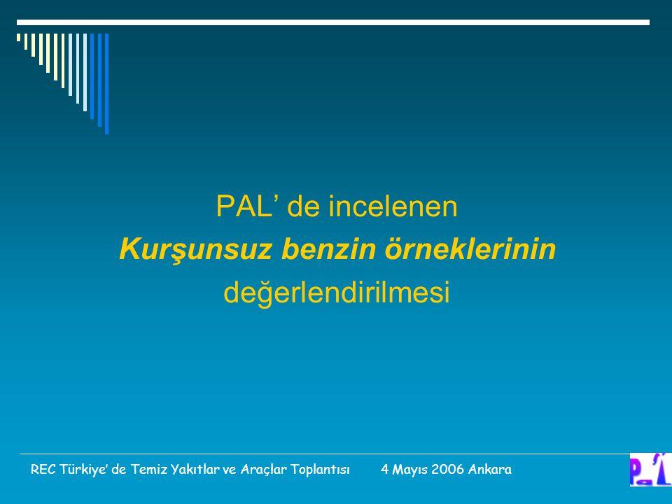 PAL' de incelenen Kurşunsuz benzin örneklerinin değerlendirilmesi REC Türkiye' de Temiz Yakıtlar ve Araçlar Toplantısı 4 Mayıs 2006 Ankara