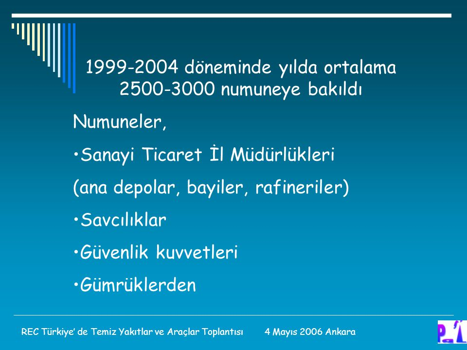 1999-2004 döneminde yılda ortalama 2500-3000 numuneye bakıldı Numuneler, Sanayi Ticaret İl Müdürlükleri (ana depolar, bayiler, rafineriler) Savcılıklar Güvenlik kuvvetleri Gümrüklerden REC Türkiye' de Temiz Yakıtlar ve Araçlar Toplantısı 4 Mayıs 2006 Ankara