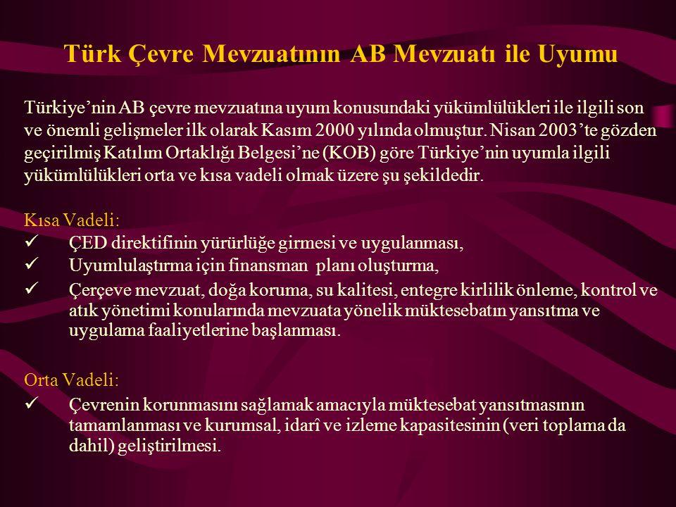 Türk Çevre Mevzuatının AB Mevzuatı ile Uyumu Türkiye'nin AB çevre mevzuatına uyum konusundaki yükümlülükleri ile ilgili son ve önemli gelişmeler ilk o