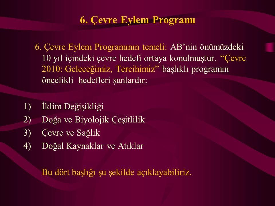 """6. Çevre Eylem Programı 6. Çevre Eylem Programının temeli: AB'nin önümüzdeki 10 yıl içindeki çevre hedefi ortaya konulmuştur. """"Çevre 2010: Geleceğimiz"""
