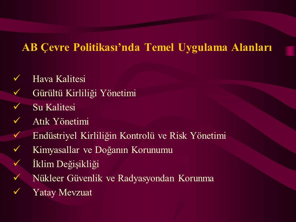 Türk Çevre Mevzuatının AB Mevzuatı ile Uyumu Türkiye'nin AB çevre mevzuatına uyum konusundaki yükümlülükleri ile ilgili son ve önemli gelişmeler ilk olarak Kasım 2000 yılında olmuştur.
