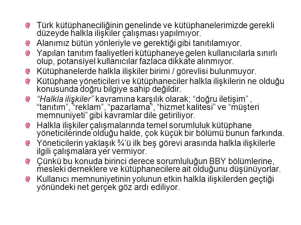 Türk kütüphaneciliğinin genelinde ve kütüphanelerimizde gerekli düzeyde halkla ilişkiler çalışması yapılmıyor. Alanımız bütün yönleriyle ve gerektiği