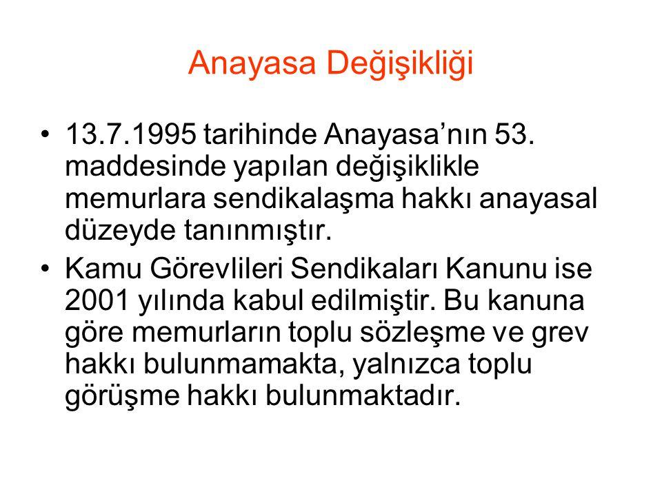 Anayasa Değişikliği 13.7.1995 tarihinde Anayasa'nın 53.