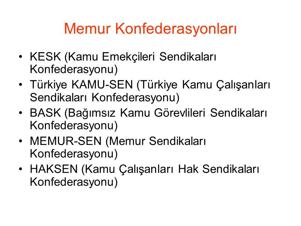 Memur Konfederasyonları KESK (Kamu Emekçileri Sendikaları Konfederasyonu) Türkiye KAMU-SEN (Türkiye Kamu Çalışanları Sendikaları Konfederasyonu) BASK (Bağımsız Kamu Görevlileri Sendikaları Konfederasyonu) MEMUR-SEN (Memur Sendikaları Konfederasyonu) HAKSEN (Kamu Çalışanları Hak Sendikaları Konfederasyonu)