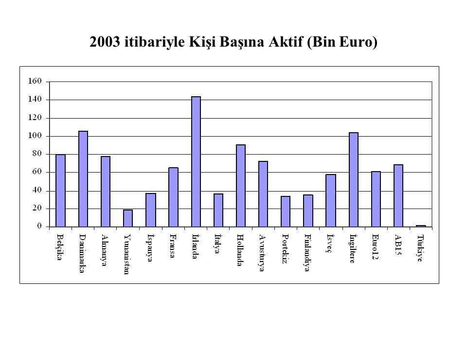 2003 itibariyle Kişi Başına Aktif (Bin Euro)
