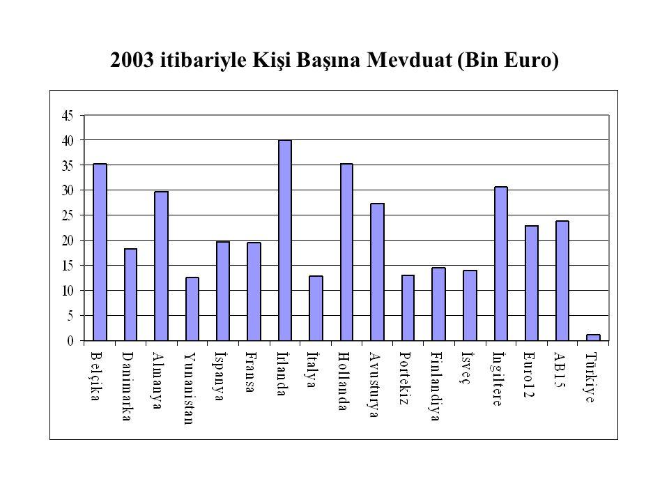 2003 itibariyle Kişi Başına Mevduat (Bin Euro)