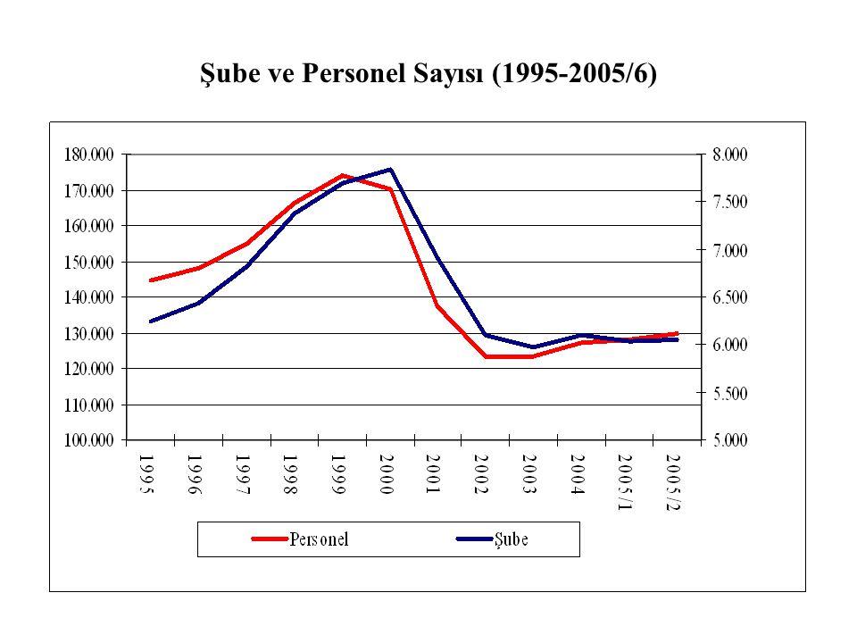 Şube ve Personel Sayısı (1995-2005/6)