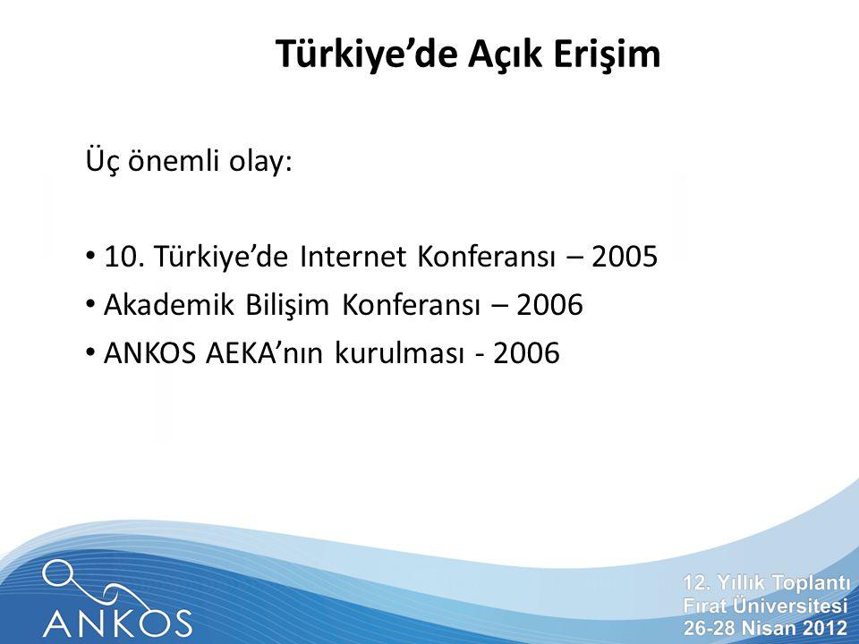 Türkiye'de Açık Erişim Üç önemli olay: 10.