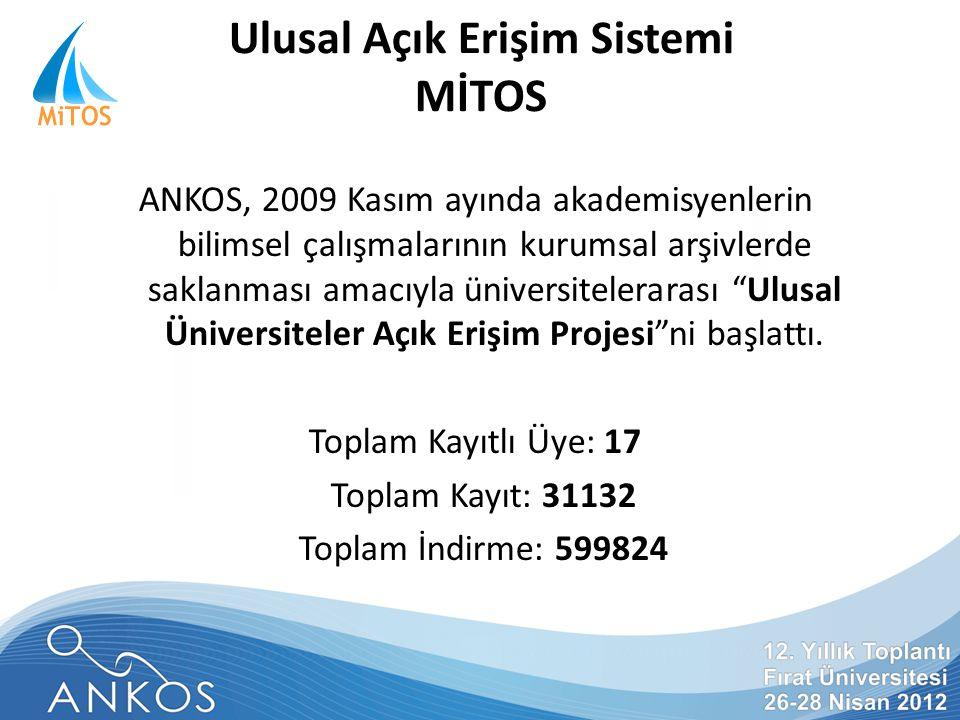 Ulusal Açık Erişim Sistemi MİTOS ANKOS, 2009 Kasım ayında akademisyenlerin bilimsel çalışmalarının kurumsal arşivlerde saklanması amacıyla üniversitelerarası Ulusal Üniversiteler Açık Erişim Projesi ni başlattı.