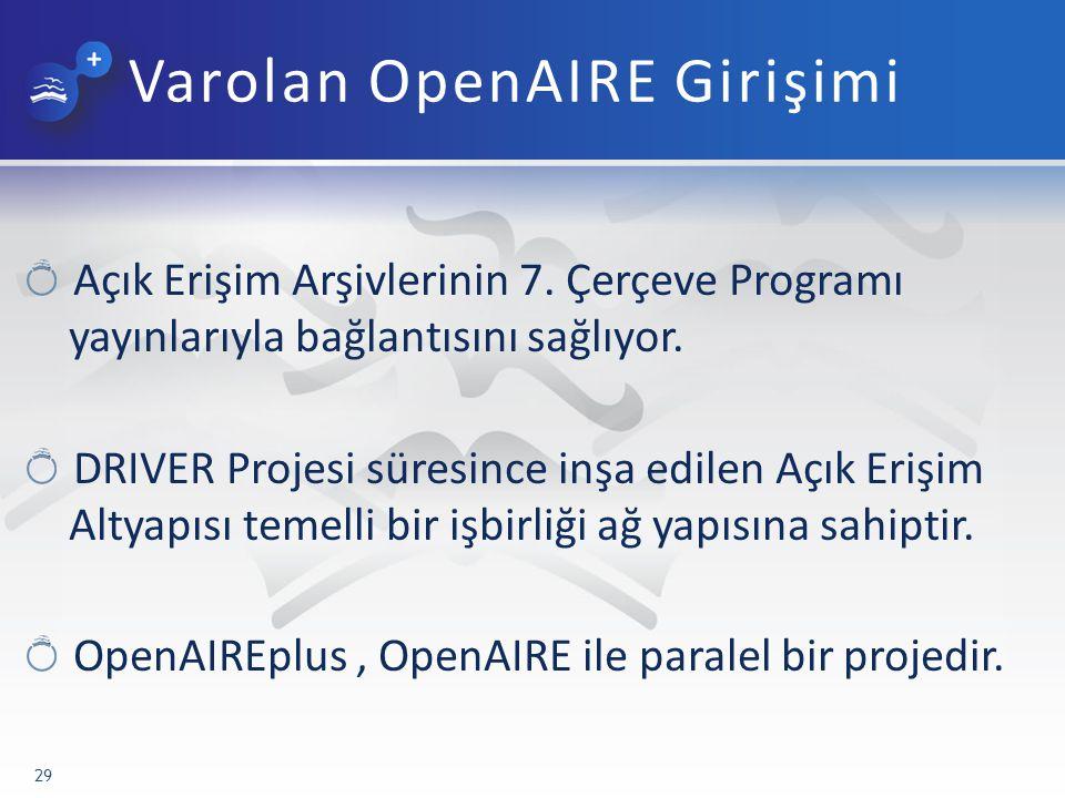 Varolan OpenAIRE Girişimi Açık Erişim Arşivlerinin 7.