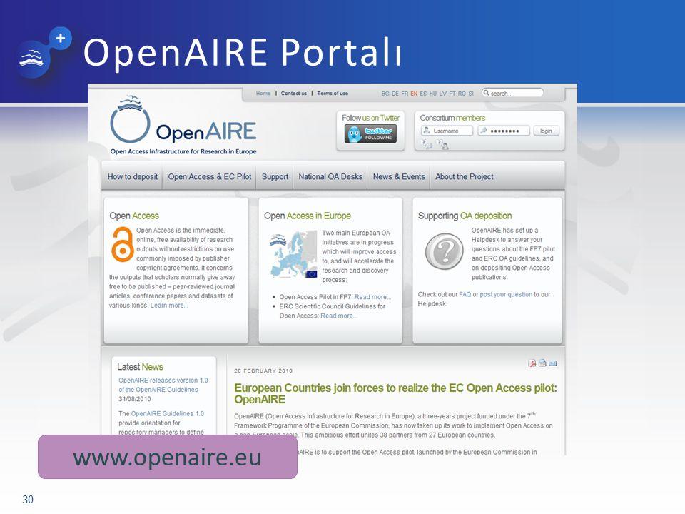 OpenAIRE Portalı 30 www.openaire.eu