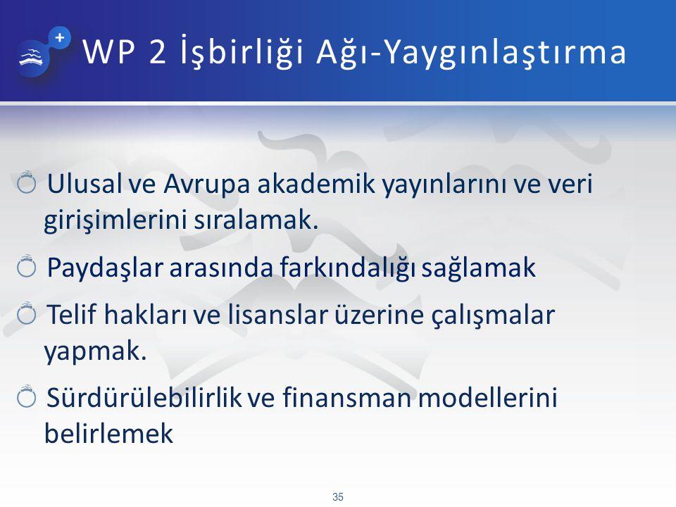 WP 2 İşbirliği Ağı-Yaygınlaştırma Ulusal ve Avrupa akademik yayınlarını ve veri girişimlerini sıralamak.