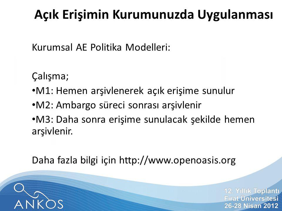 Türkiye'nin Directory of Open Access Repositories (DOAR) Kayıtları Nottingham Üniversitesi (İngiltere) tarafından işletilmektedir.