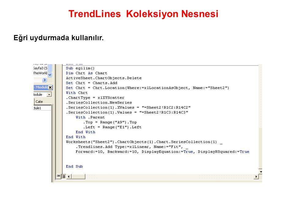 TrendLines Koleksiyon Nesnesi Eğri uydurmada kullanılır.