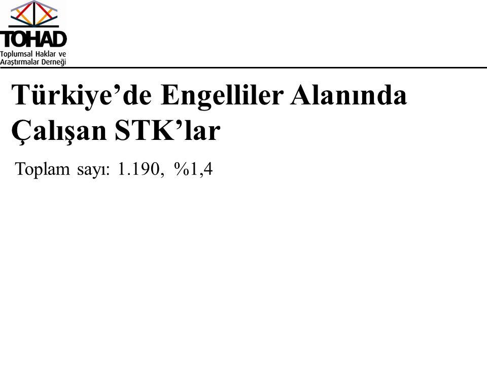 Türkiye'de Engelliler Alanında Çalışan STK'lar Toplam sayı: 1.190, %1,4