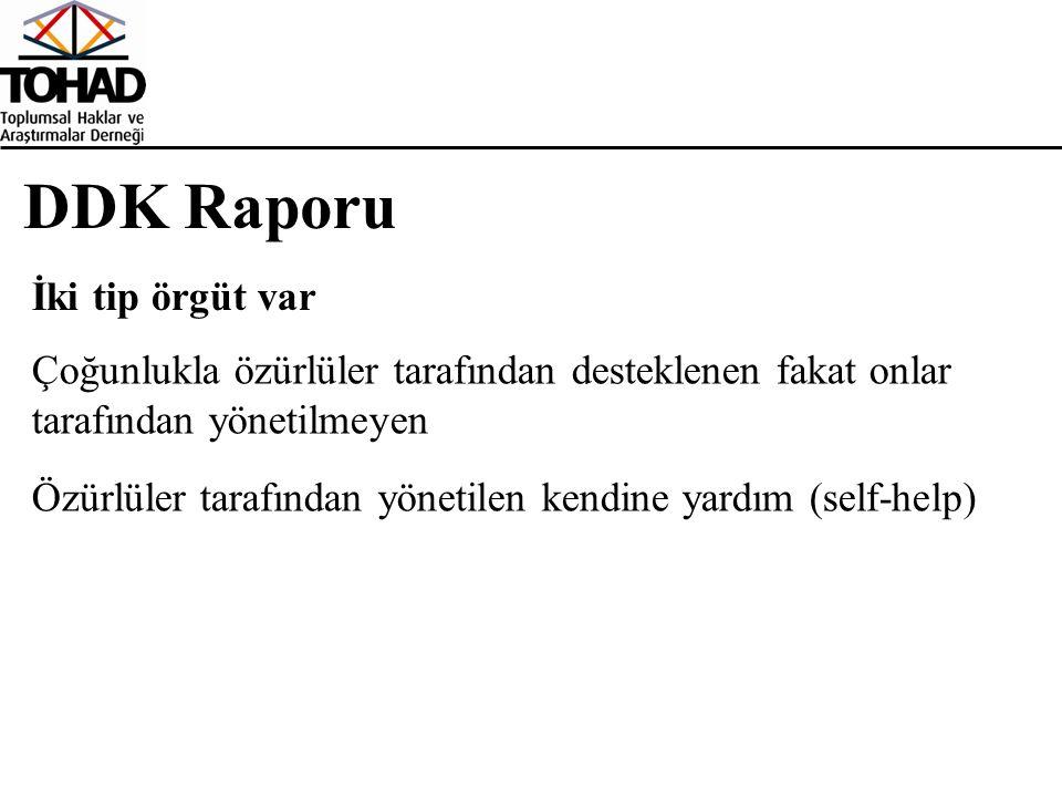 DDK Raporu İki tip örgüt var Çoğunlukla özürlüler tarafından desteklenen fakat onlar tarafından yönetilmeyen Özürlüler tarafından yönetilen kendine yardım (self-help)