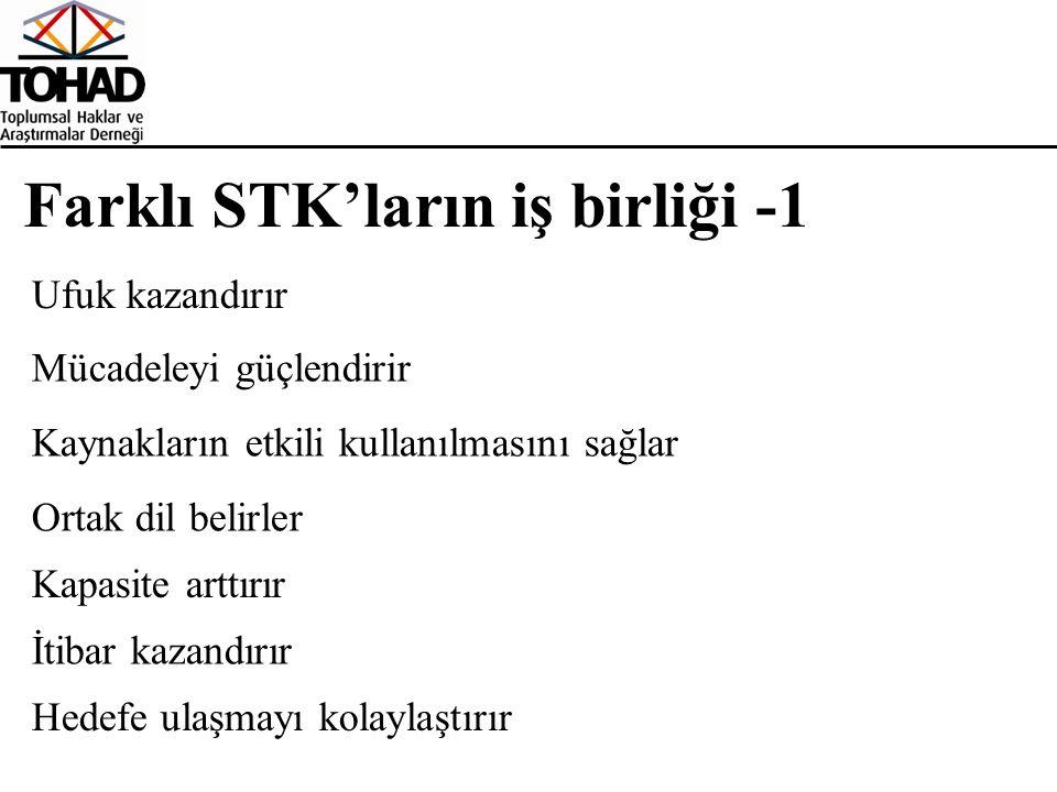 Farklı STK'ların iş birliği -1 Ufuk kazandırır Mücadeleyi güçlendirir Kaynakların etkili kullanılmasını sağlar Ortak dil belirler Kapasite arttırır İtibar kazandırır Hedefe ulaşmayı kolaylaştırır