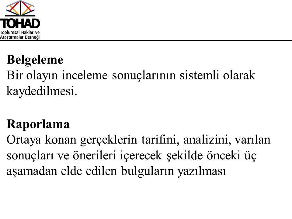 Belgeleme Bir olayın inceleme sonuçlarının sistemli olarak kaydedilmesi.