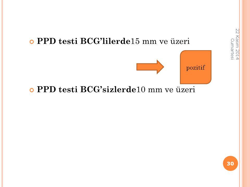 PPD testi BCG'lilerde 15 mm ve üzeri PPD testi BCG'sizlerde 10 mm ve üzeri 22 Kasım 2014 Cumartesi 30 pozitif